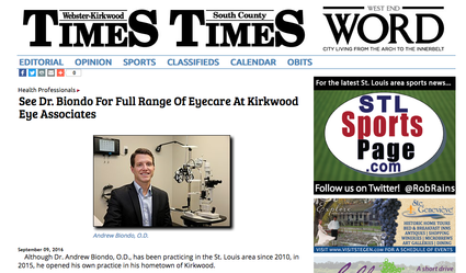 Dr. Andrew Biondo and Kirkwood Eye Associates featured in the Webster Kirkwood Times