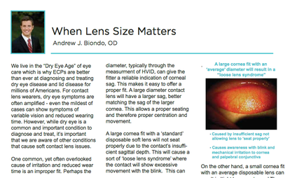 Doctor Andrew J Biondo OD article on dry eye disease